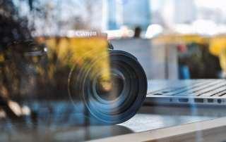 canon camera on desk
