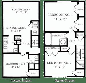 3 Bed / 2 Bath / 1,164 sq ft / Rent: Please Call