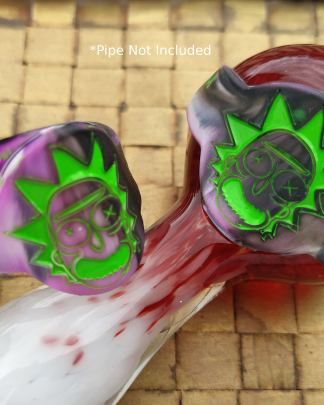 image of 2 different colored rick sanchez save-a-bowls on a glass pipe