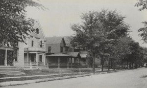 "The Brewer House in Cedar Rapids is shown with others on Fourth Avenue's ""mansion hill"" in its early days. (courtesy photo)"