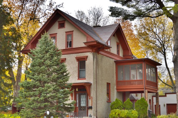 Known as the Waterhouse house for its original owner, this home at 1846 B Ave. NE was built in 1875, the first house constructed on B Avenue. (photo/Cindy Hadish)