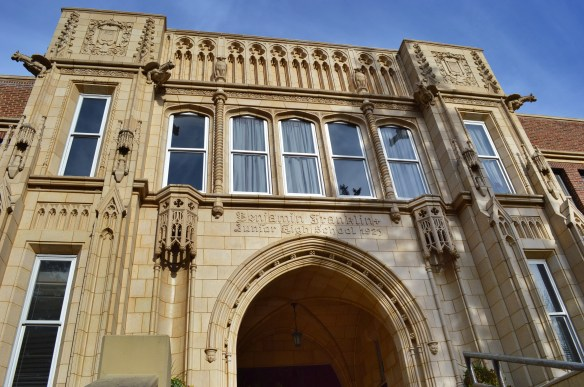 Intricate craftsmanship can be seen in the Gothic arches at Franklin Middle School. Built on a sloping site, the school was designed by Cedar Rapids architect William J. Brown. (photo/Cindy Hadish)
