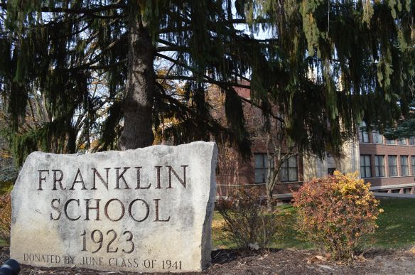 """Franklin Middle School, at B Avenue and 20th Street NE, bookends the new B Avenue NE Historic District, along with the more modern Polk Elementary School at the other end. Franklin is considered a """"contributing"""" structure while Polk is not. (photo/Cindy Hadish)"""