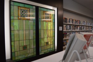 The Cedar Rapids Public Library is one of the sites where stained glass windows from First Christian Church are displayed after the church was demolished in 2012. (photo/Cindy Hadish)