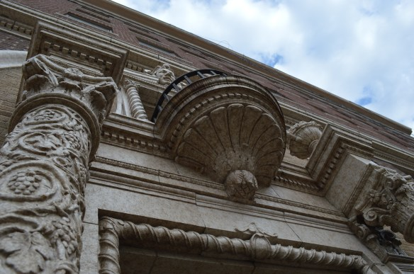 Architectural features, such as the elaborate columns, will be restored under a plan using tax credits for the Commonwealth Apartments. (photo/Cindy Hadish)
