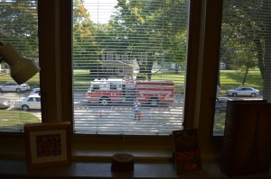 A Cedar Rapids fire truck can be seen from a second-floor dorm window at Coe College's newly renovated Whipple Fire House. (photo/Cindy Hadish)