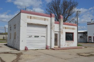 The service station is shown after the 2008 flood, before restoration work began. (photo/Cindy Hadish)