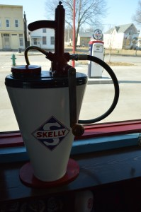 Vintage Skelly memorabilia adds to the retro look of the former service station. (photo/Cindy Hadish)