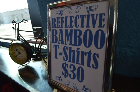 T-shirts in Tony Burnett's Bike Rags apparel use bamboo material and reflective print. (photo/Cindy Hadish)