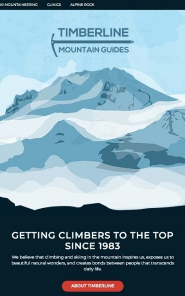 Timberline Mountain Guides redesign home page with layered parallax