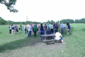 Walk for a Wild Marshes on Hackney Marshes discussing Council's development plans