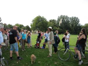 People gather to discuss the legacy proposals for Hackney Marshes.