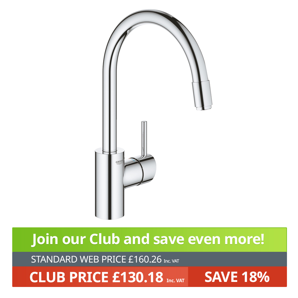 grohe concetto with pull out mousseur single lever swivel spout 360 chrome kitchen mixer tap