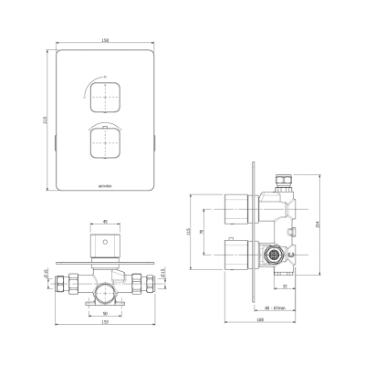 Methven Kiri Thermostatic Mixer One Outlet for Concealed