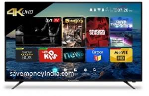 CloudWalker Cloud 55″ Ultra HD 4K Smart LED TV 55SU Rs. 17999 (Exchange) or Rs. 37999 (Citibank) or Rs. 39999 – FlipKart image