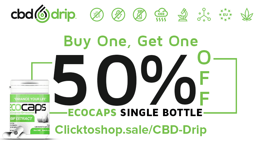 CBD Drip 50% off the 2nd bottle of Ecocaps Store Coupon Promo Certificate Website