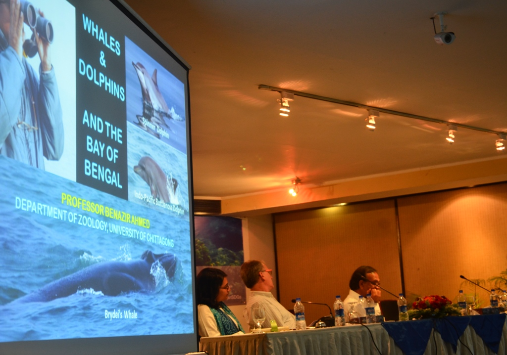 The house heard veteran Professor Benazir Ahmed about the cetacean diversity of the Bay of Bengal, from the long experience that he has in marine conservation. Photo: Sultan Ahmed/ Save Our Sea