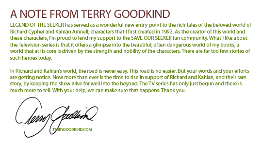 A note from Terry Goodkind