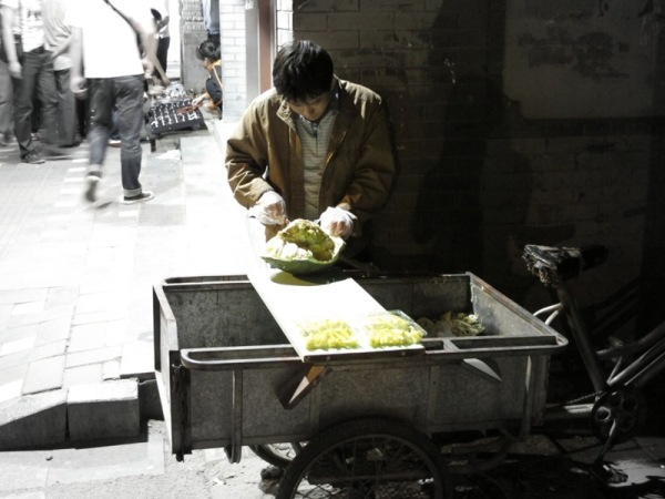 Beijing-China-Photograph-Night-Stall-Cutting-Durian-For-Sale
