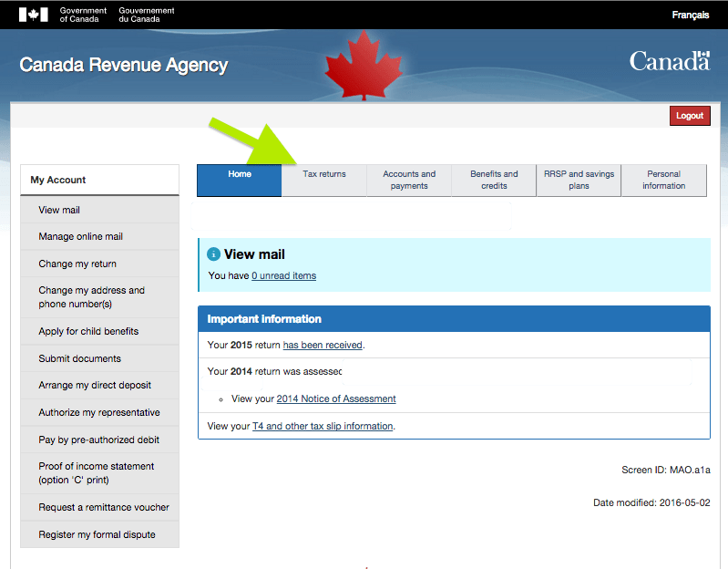 canada revenue agency my account sign in