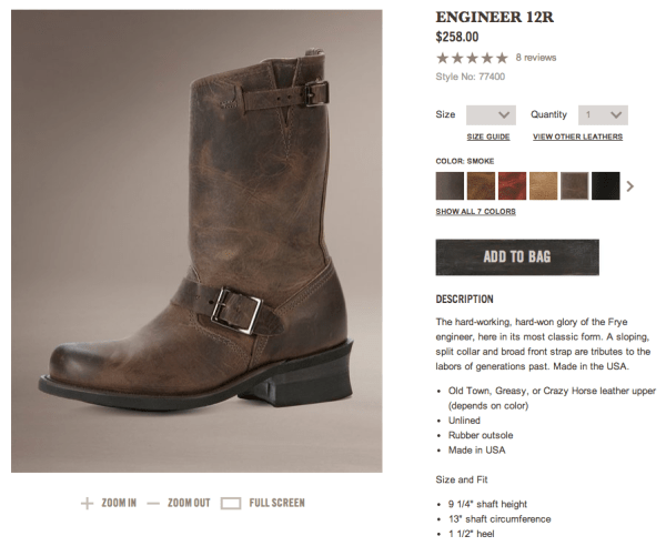 http://www.thefryecompany.com/womens-boots/bestsellers/77400/engineer-12r?color=SMK