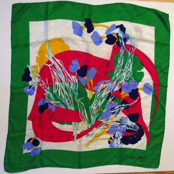 Michele-Morgan-Silk-Scarf-Paris-Green-Border-Orchid-Print