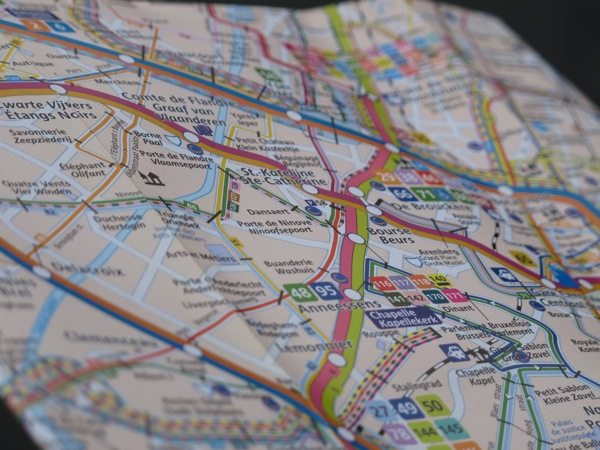 Photograph-Vienna-Brussels-Map-Travel-Transportation-Subway-Cars-Buses