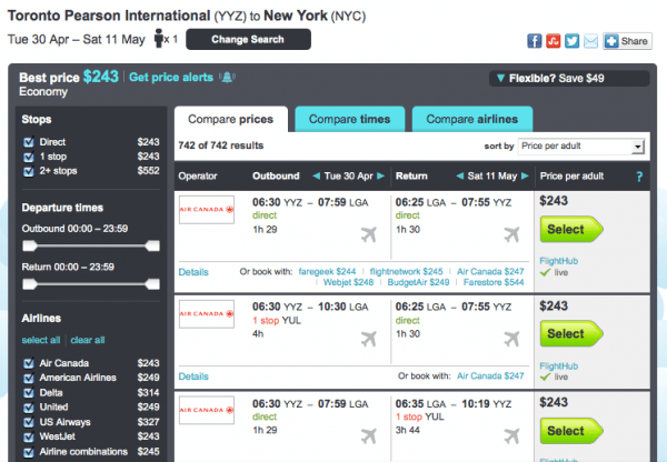 Skyscanner-search-engines-result-NYC-to-Toronto