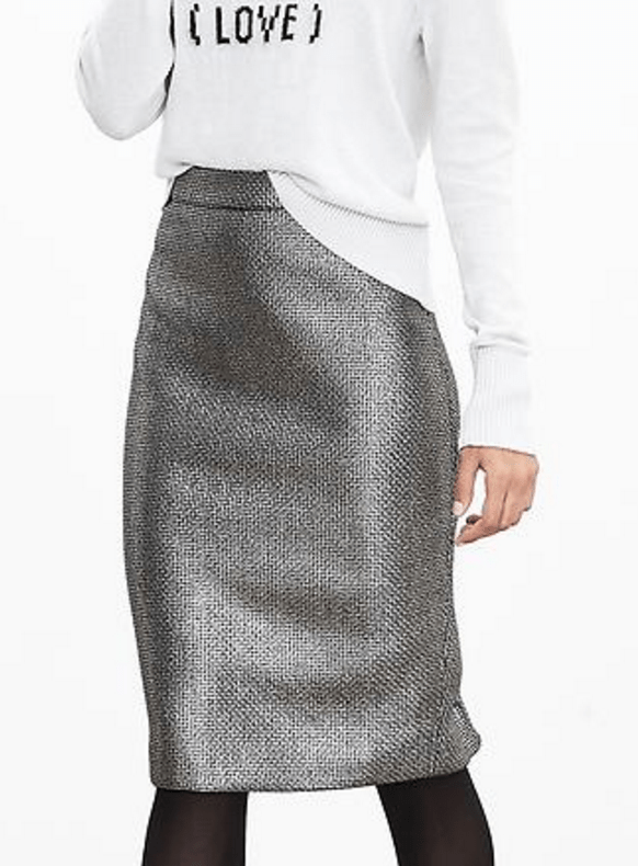 banana-republic-save-spend-splurge-review-metallic-tweed-pencil-skirt