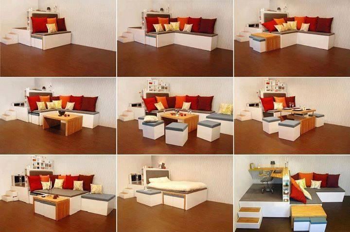 Multi Functional Matroshka Furniture With Three Rooms