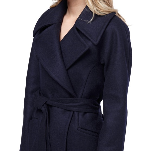 cuyana-navy-wrap-wool-eco-coat-model-lapel-review-save-spend-splurge