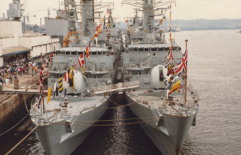 No shortage of ships to see at Plymouth Navy Days 1986. HMS Avenger & Ambuscade seen form RFA Tidespring.