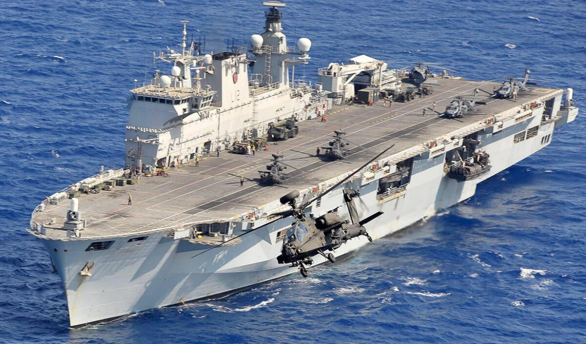 Cameron's makeshift aircraft carrier - with Army Air Corps Apaches embarked, Operation Ellamy, Libya, 2011
