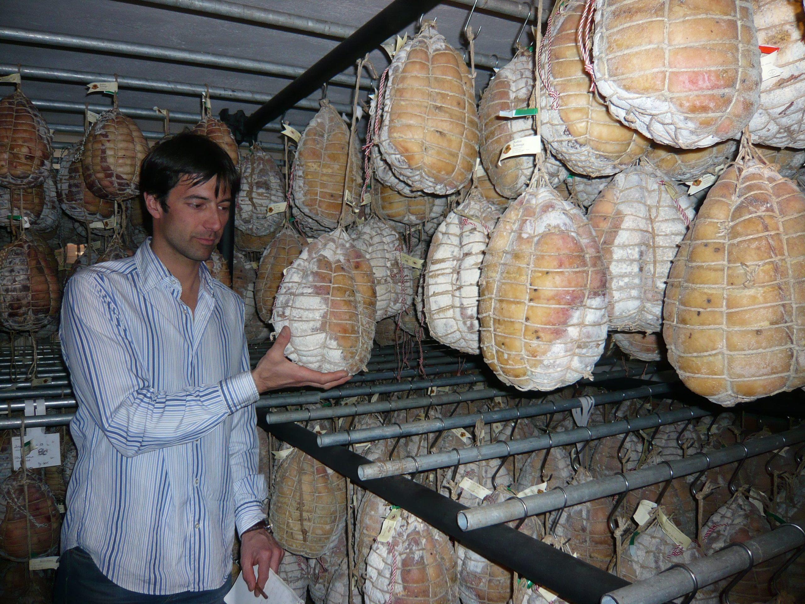 Riccardo in a Culatello refining cellar