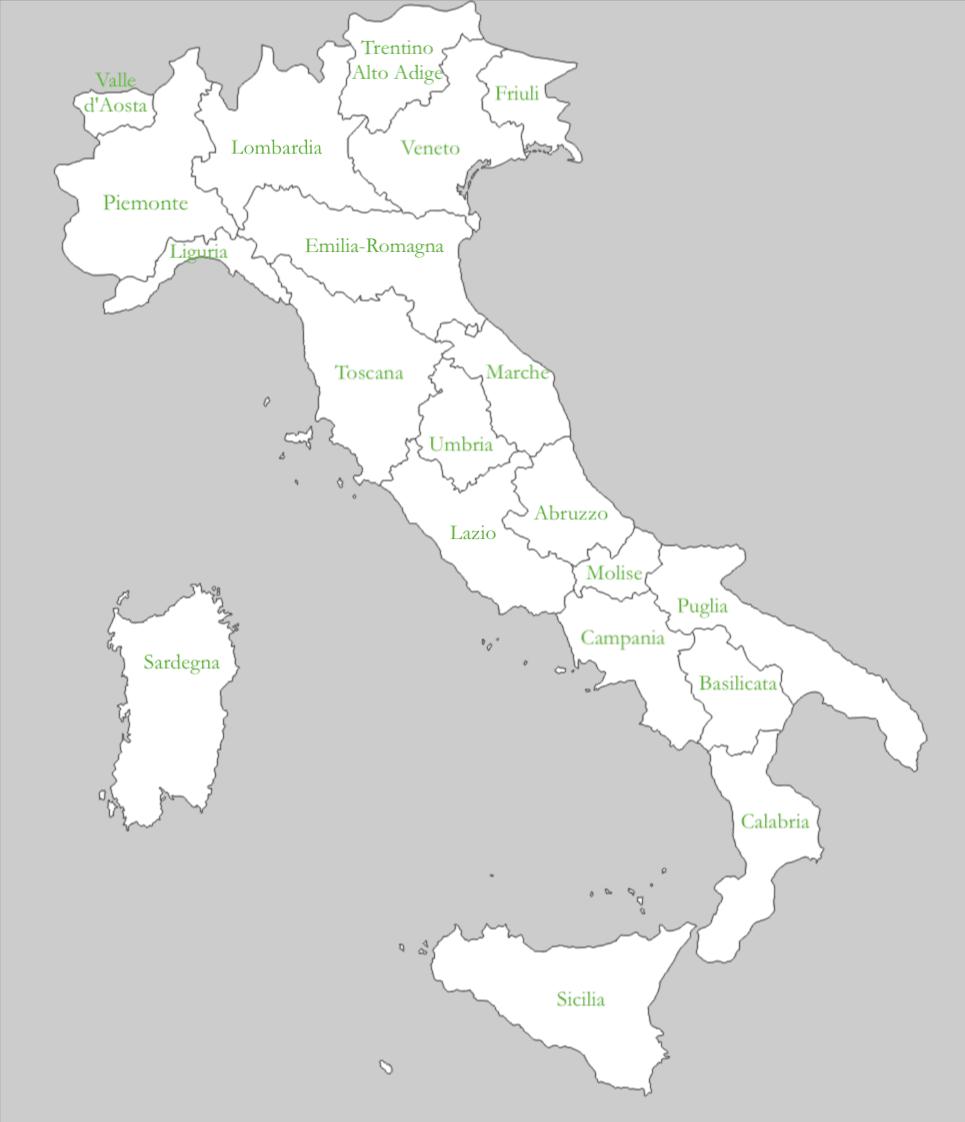 Mappa delle regioni