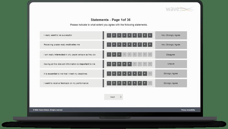 Wave questionnaire on laptop