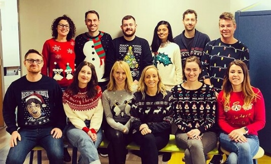 Saville assessment employees in Christmas jumpers