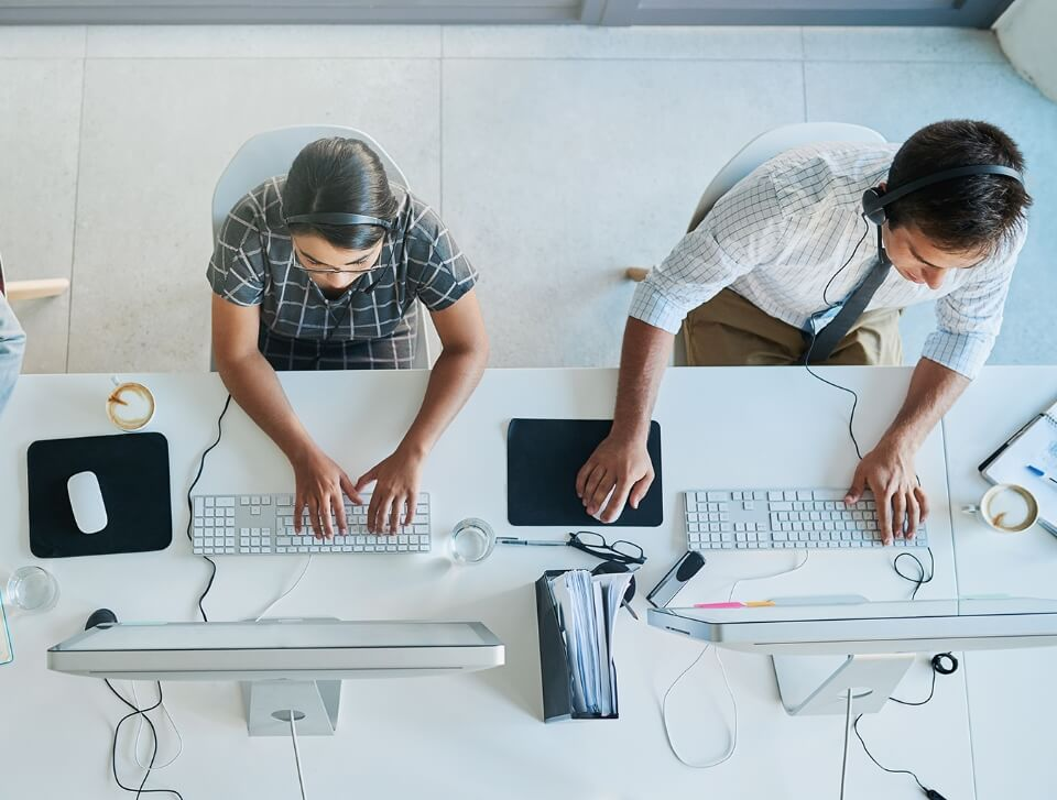 above view of bureau team working