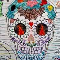 Calavera literaria y dibujo dedicados a MARÍA IZQUIERDO