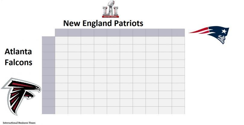 Free Super Bowl Squares Printable Chart for Super Bowl LI