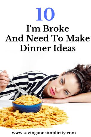 broke, meal ideas, frugal, money