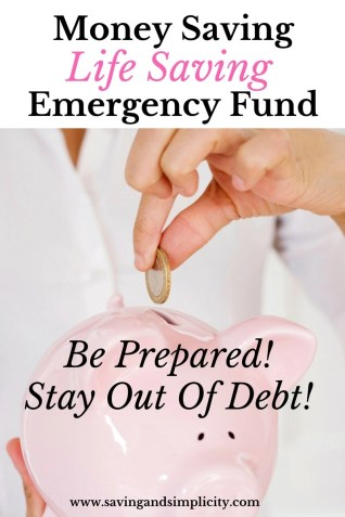 Money saving life saving emergency fund