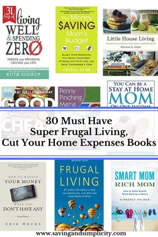 Are you looking for ways to save money and cut down on your home expenses? These 30 frugal living books will show you how to save money and cut expenses.