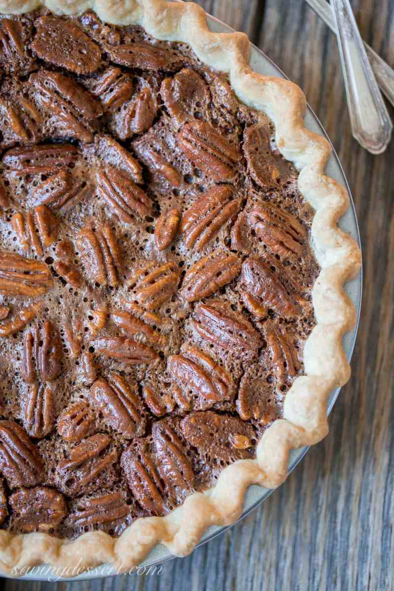 Fudgy chocolate pecan pie loaded with pecans