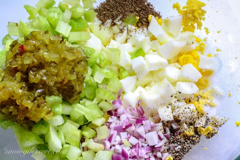 bowl of relish, celery, eggs, onions and spices