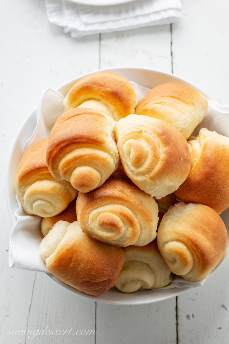 a bowl of homemade Lion House Rolls