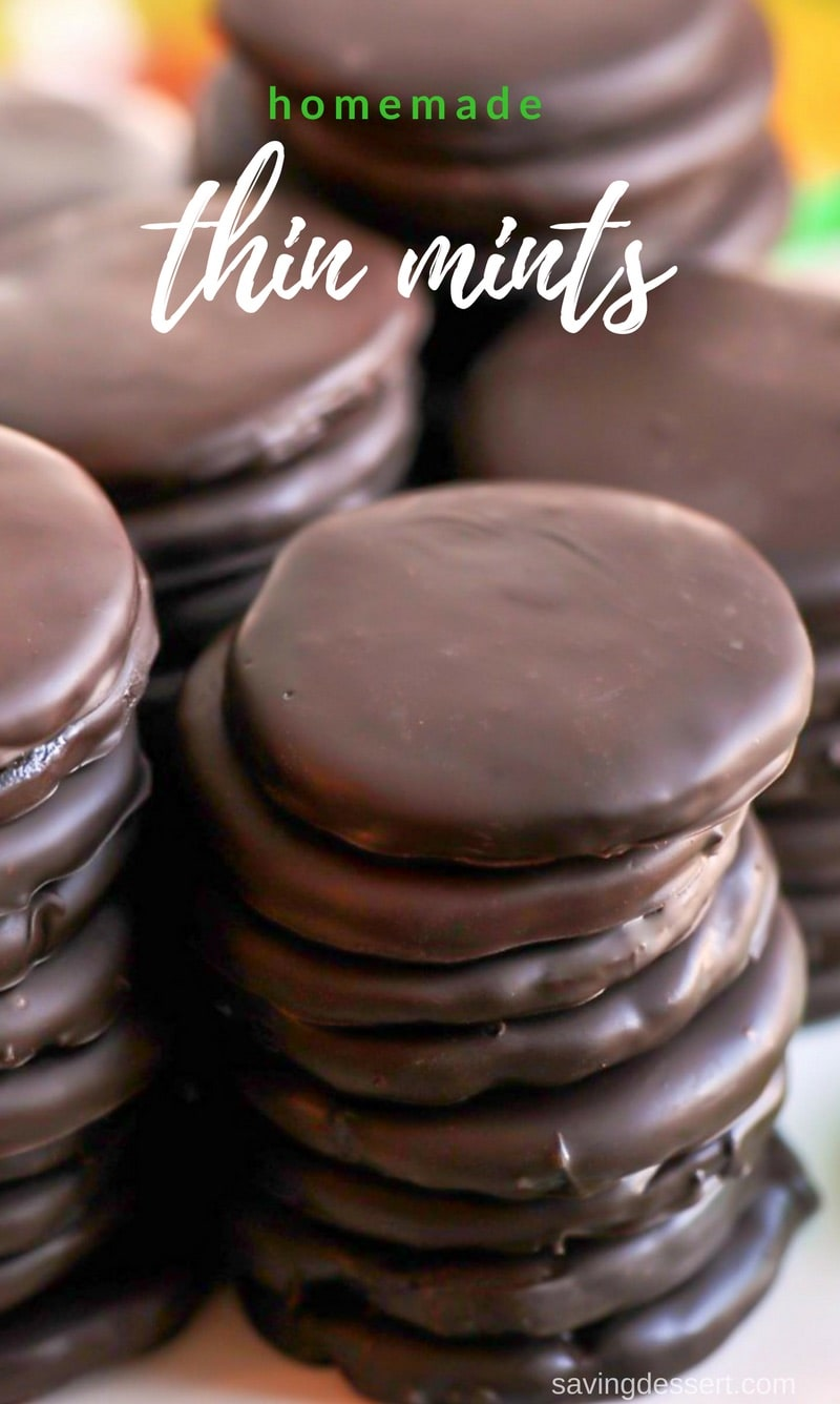 Homemade Copycat Thin Mint Cookies with a deep, dark chocolate cookie coated in a thick layer of minty chocolate. Don't wait for a Girl Scout to stop by your house - keep a batch in the freezer year round! www.savingdessert.com #savingroomfordessert #thinmints #cookies #girlscoutcookies #dessert #copycatcookies