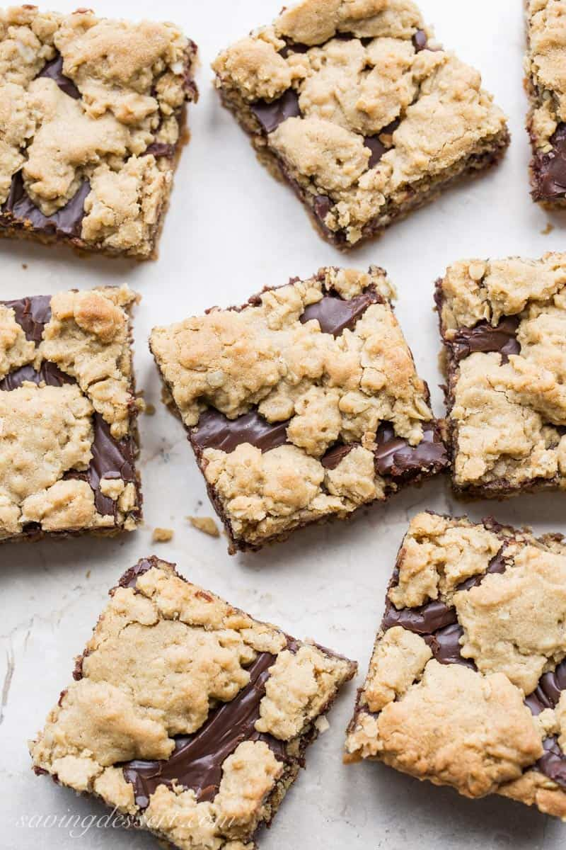 Chocolate Peanut Butter Revel Bars, sliced into squares