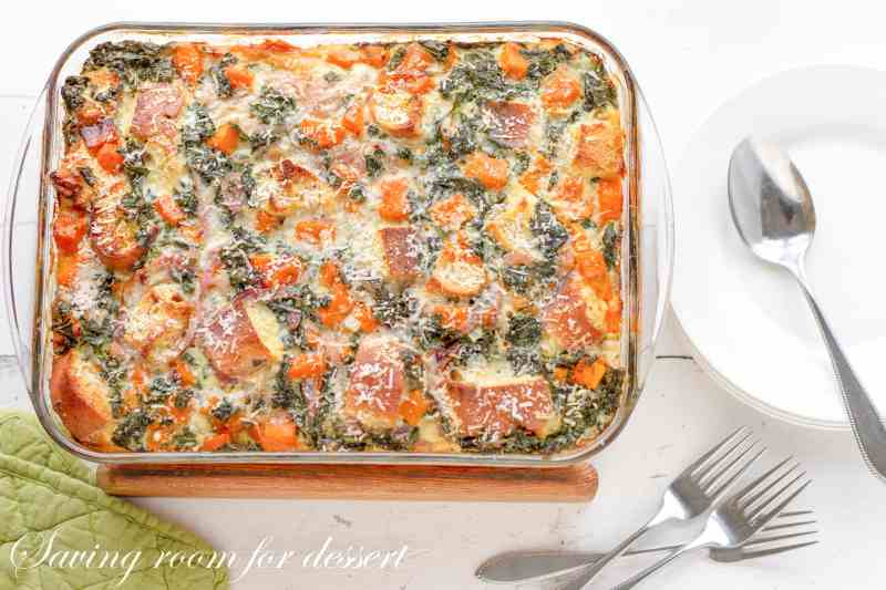 a Butternut Kale Strata in a casserole pan