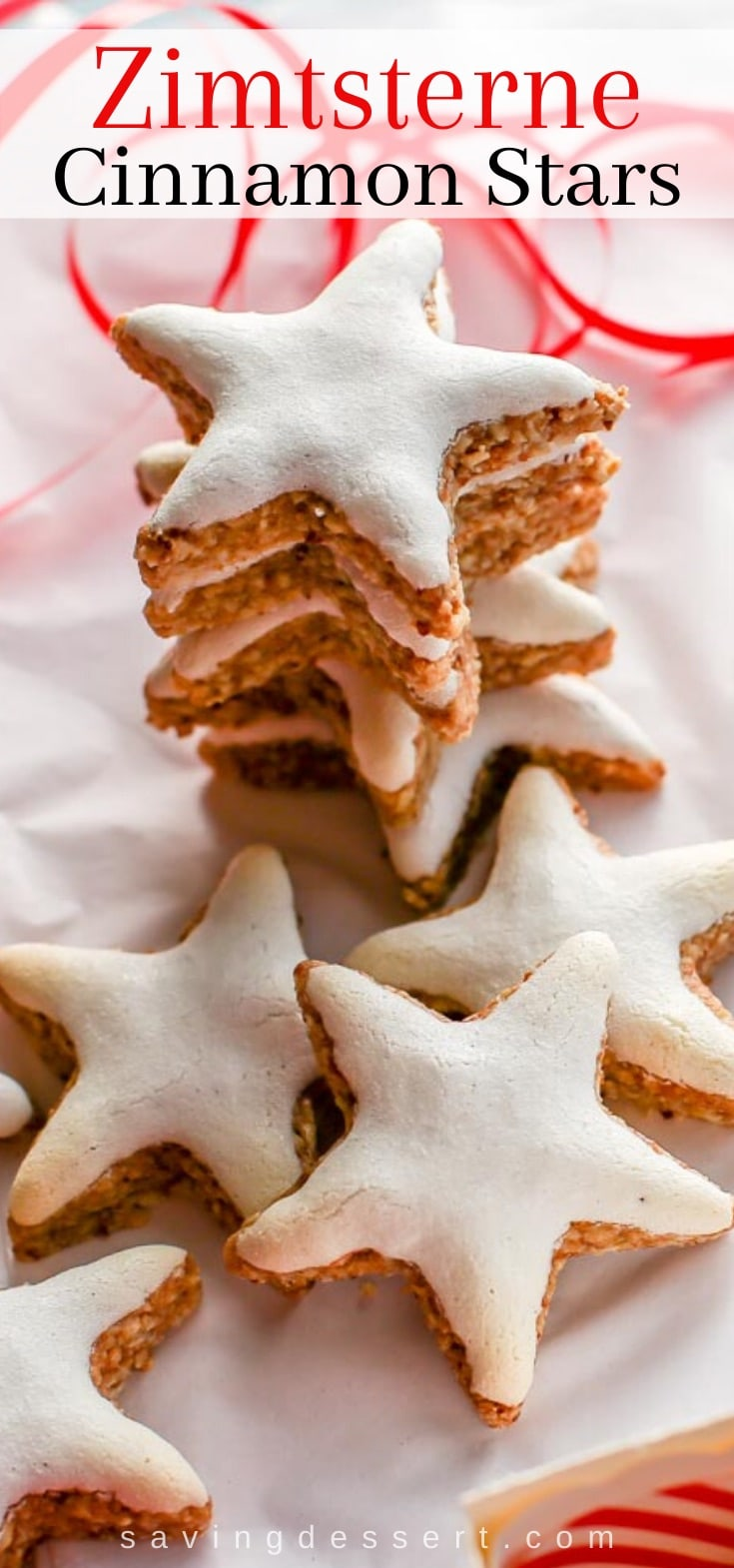 A stack of cinnamon star cookies also known as Zimtsterne